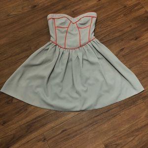 Bar III mini dress. Grey with orange with boning.